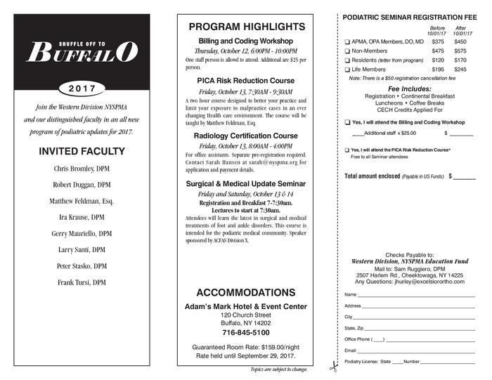 Shuffle Off To Buffalo 2017 Seminar Flyer 1 Rev 17 06 29 Rev2